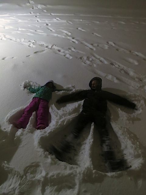 Student snow angels