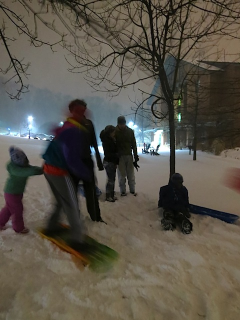 students sledding 2